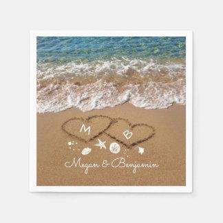 Ondas azules del mar y boda tropical de los servilletas de papel