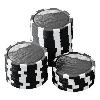 Ondas blancos y negros fichas de póquer