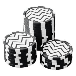Ondas blancos y negros juego de fichas de póquer