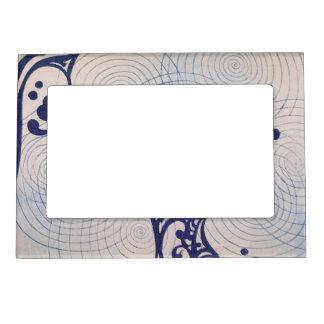 Ondas del azul del art déco del vintage marcos magneticos de fotos