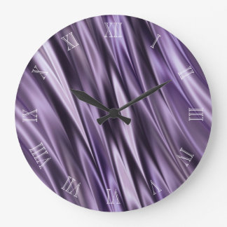 Ondas del negro de la lila reloj redondo grande