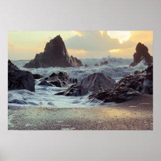 Ondas en las rocas de la playa póster