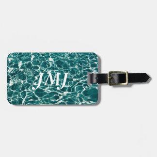 Ondas frescas de la piscina etiqueta para maletas