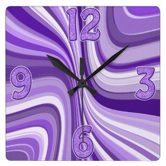 ondas púrpuras reloj cuadrado