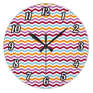 Ondas retras alternativas reloj redondo grande
