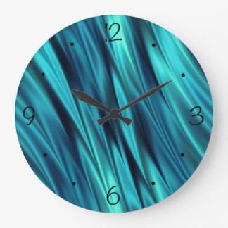 Ondas sedosas del Aquamarine Reloj Redondo Grande