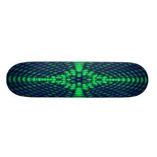 Ondas Trippy verdes y azules de la difracción geom Monopatín Personalizado