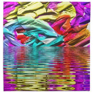 Ondulaciones abstractas en colores pastel en flor servilleta de tela