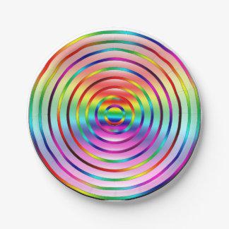 Ondulaciones del arco iris plato de papel
