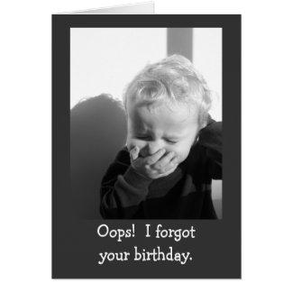 Oops plantilla tardía de la tarjeta de cumpleaños