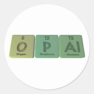 Ópalo como aluminio del fósforo del oxígeno pegatinas