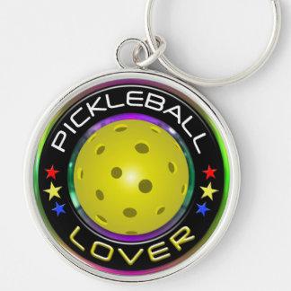 Opciones del amante 1 de Pickleball Llavero Redondo Plateado