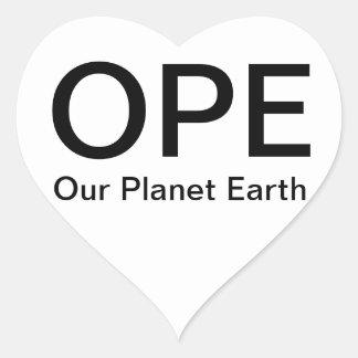 OPE - Nuestra tierra del planeta Pegatina En Forma De Corazón
