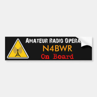 Operador de radio aficionado a bordo etiqueta de parachoque