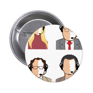 Operadores con las auriculares chapa redonda de 5 cm