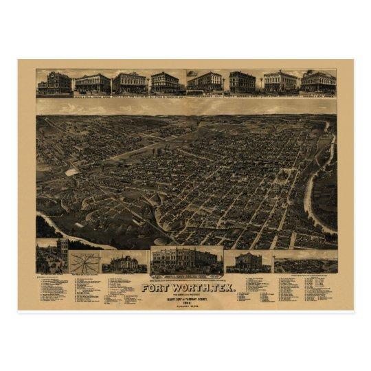 Opinión 1886 de ojo de pájaros de Fort Worth, Postal
