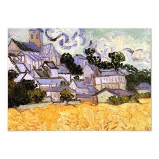 Opinión de Auvers con la iglesia, bella arte de Invitación 12,7 X 17,8 Cm