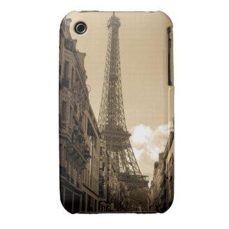 Opinión de la calle de la caja de la torre Eiffel  iPhone 3 Funda