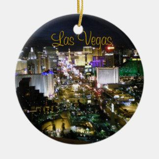 Opinión de la noche de Las Vegas Boulevard Adorno Redondo De Cerámica