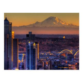 Opinión de Seattle céntrica, fútbol del paisaje Postal