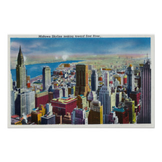 Opinión del horizonte del Midtown hacia East River Impresiones