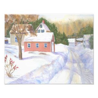 Opinión del invierno de Sheepscott Maine Fotografía