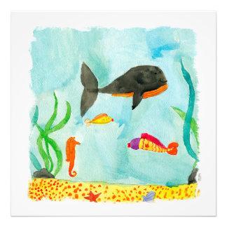 Opinión del mar de la acuarela con la ballena y el foto