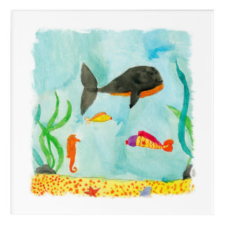 Opinión del mar de la acuarela con la ballena y el impresión acrílica