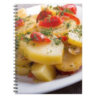 Opinión del primer de un plato vegetariano de la cuaderno