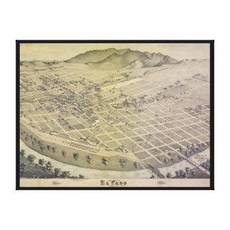 Opinión El Paso el condado de El Paso Tejas 1886 d Impresión En Lona Estirada