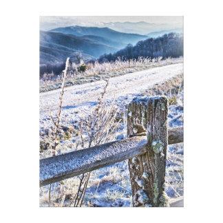 Opinión escénica del invierno del botón de la impresión en lona estirada