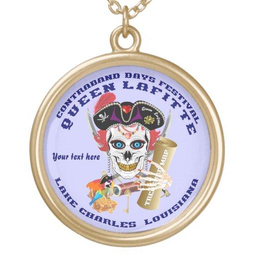 Opinión redonda de Lafitte del pirata de la reina  Collar Personalizado