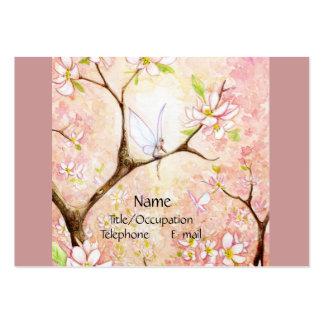 Opinión rosada del flor tarjetas de visita grandes