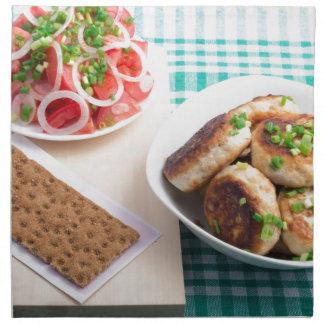 Opinión superior sobre el almuerzo hecho en casa servilleta de tela