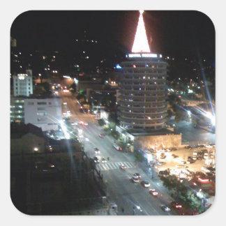 Opiniones de la ciudad de Los Ángeles Pegatina Cuadrada