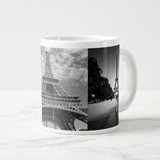 Opiniones de la torre Eiffel en taza enorme blanco