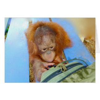 Orangután Snoopy del bebé Tarjeta