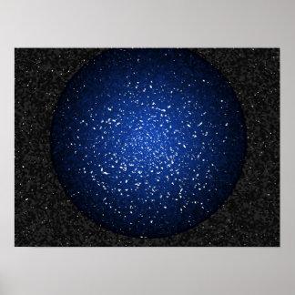 Orbe azul profundo roto con el fondo gris negro póster
