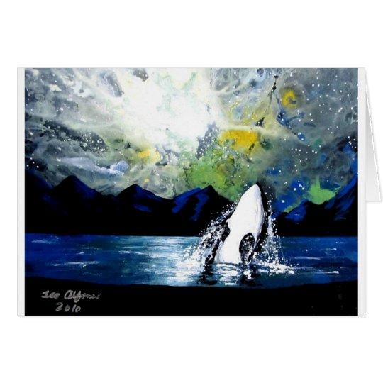 ORCA DE LA ORCA QUE SE DIVIERTE EN THE SUN TARJETA DE FELICITACIÓN