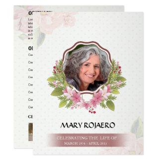 Orden conmemorativa de la tarjeta del entierro del invitación 10,8 x 13,9 cm