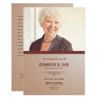 Orden de la tarjeta de programa fúnebre del invitación 8,9 x 12,7 cm