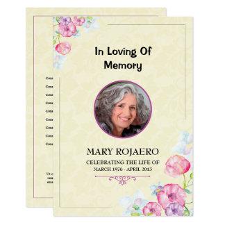 Orden fúnebre de la tarjeta de programa de