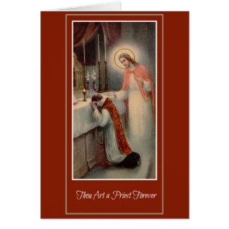 Ordenación Jesús del sacerdote del aniversario de Tarjeta De Felicitación