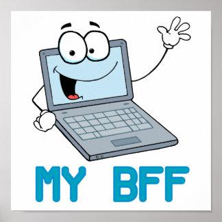 ordenador portátil divertido mi dibujo animado del póster