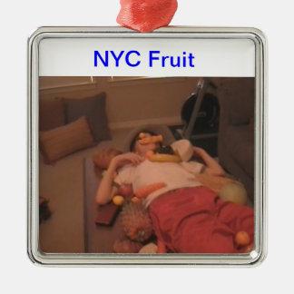 Ordiment de la fruta de NYC Adorno Cuadrado Plateado
