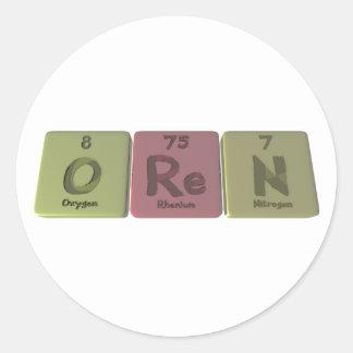 Oren como nitrógeno del renio del oxígeno pegatina
