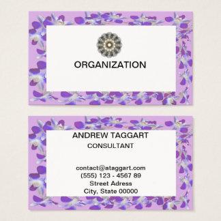 organización púrpura del marco de la flor tarjeta de visita