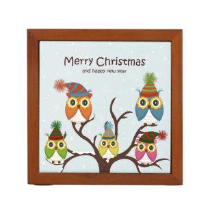 a411487e8 Organizador De Escritorio Búhos de las Felices Navidad en el árbol