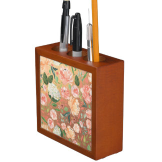 Organizador De Escritorio La primavera se ruborizan y el hogar floral de la
