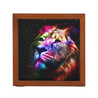 Organizador De Escritorio León del espacio - león colorido - arte del león -